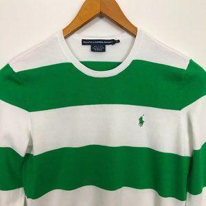RALPH LAUREN SPORT Green White Stripes M Sweater